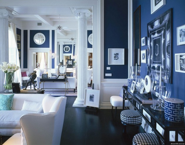 in this living room the azure blue colours with crisp whites look