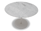 The Hanna modern dining furniture pairs the natural beauty of Carrera marble with the contemporary sophistication of smooth white lacquer