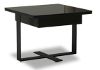 The Mod contemporary side table features a unique platform and square black glass top.