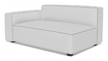 Rubix contemporary low arm small sofa section left