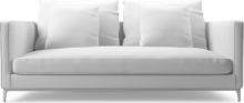 Crescent contemporary narrow two seat sofa