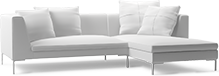 The Alison modern corner sofa comprises beautifully tapered arms, elegant chrome legs and linear styling to bring you a timeless piece of modern designer furniture.