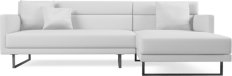Prices from �2,198 next day delivery available. The Amor range provides a unique take on the more classic corner sofa with an attractive angled chaise, ideal for creating an eye catching focal point within your interior.