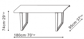 Small Bend Dining Table dimensions