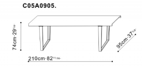 Medium Bend Dining Table dimensions
