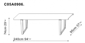 Large Bend Dining Table dimensions