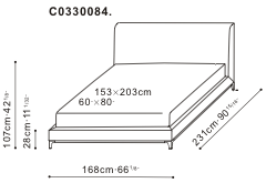 Crescent Bed 153 x 203cm dimensions