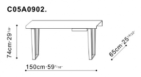 Small Bend Desk dimensions