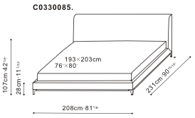 Crescent Bed 193 x 203cm dimensions