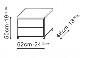 Max Bedside / Side Table with Double Drawers dimensions
