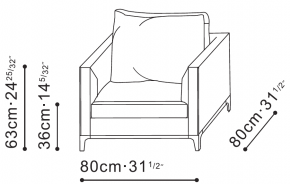 Crescent Armchair dimensions