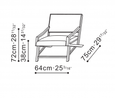 Eric Lounge Chair with Armrests dimensions