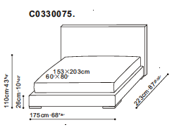 Screen Bed 153 x 203cm dimensions