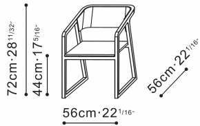 Ming Dining Chair with Armrests dimensions