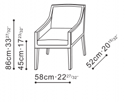 Baroque Narrow Dining / Lounge Chair dimensions