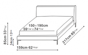 Alison Plus Bed 150 x 190cm dimensions