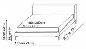 Alison Bed 180 x 200cm dimensions