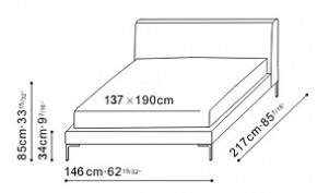 Alison Bed 137 x 190cm dimensions