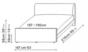 Era Plus Bed 137 x 190cm dimensions