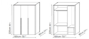 Large Wardrobe with Low Storage dimensions
