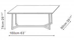 Vessel 160cm Dining Table dimensions