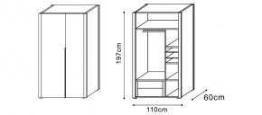 Wardrobe with Two Drawer Storage dimensions