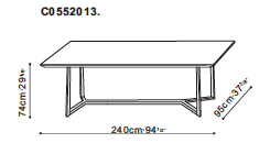 Vessel 240cm Dining Table dimensions