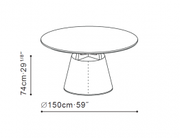 Unity Small 150cm Dining Table dimensions