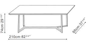 Vessel 210cm Dining Table dimensions