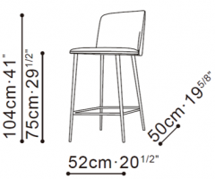 Ballet Bar Stool dimensions