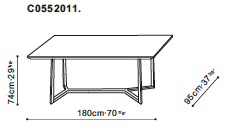 Vessel 180cm Dining Table dimensions