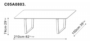 Verge 210cm Dining Table dimensions