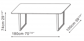 Verge 180cm Dining Table dimensions