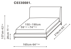 Crescent Bed 150 x 190cm dimensions