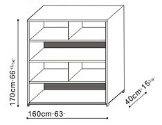 Tall Bookcase/Shelving Unit with Split Shelves dimensions