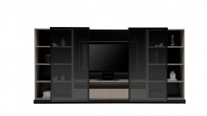 Tall TV Unit with Glass Sliding Doors