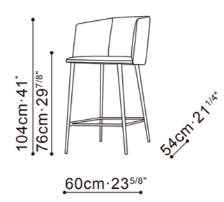 Ballet Deep Bar Stool With Arms dimensions