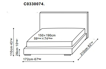 Screen Bed 150 x 190cm dimensions
