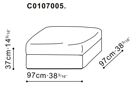 Freetown Small Ottoman dimensions