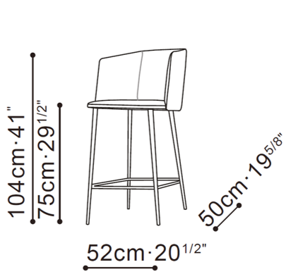 Ballet Bar Stool With Arms dimensions