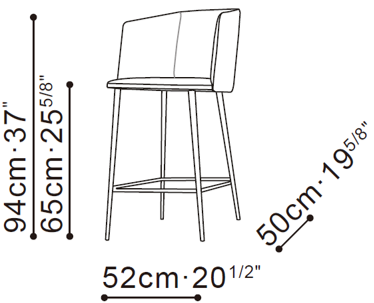 Ballet Counter Stool With Arms dimensions