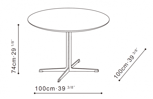 Vary Round Dining Table dimensions