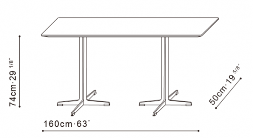Vary 160cm Desk/Dining Table dimensions